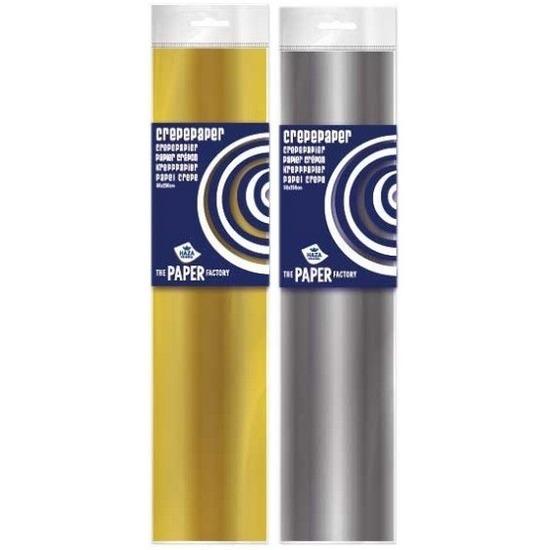 2x Crepe papier pakket goud/zilver 250 x 50 cm knutsel materiaal