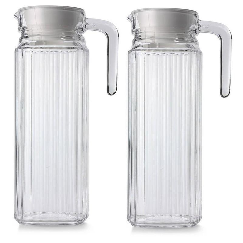 2x Glazen koelkast schenkkannen met dop 1,1 L