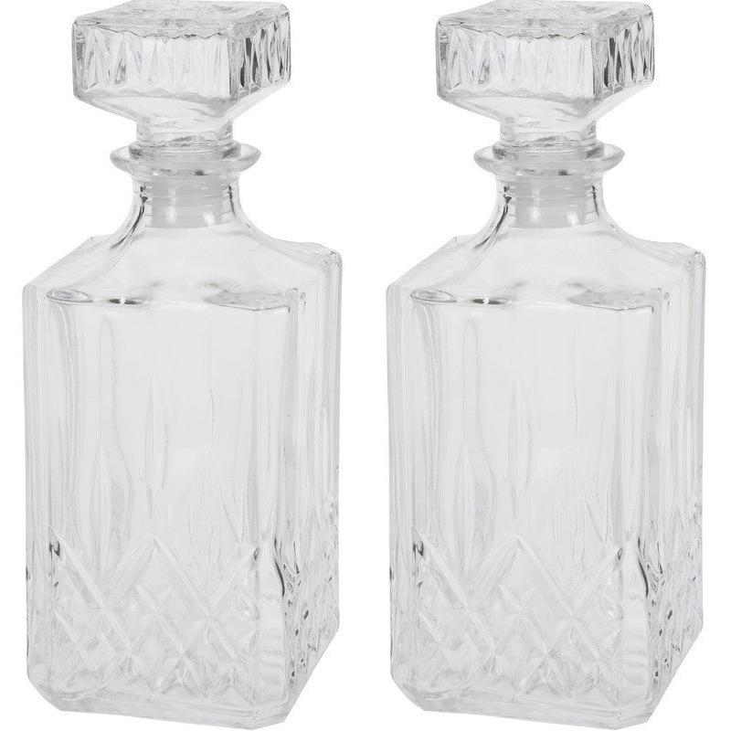2x Glazen whiskey karaf met dop vierkant 900 ml