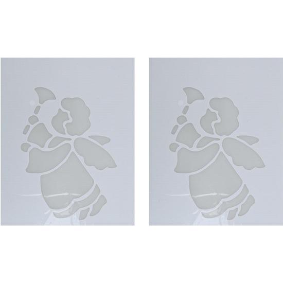2x Kerst raamsjablonen/raamdecoratie engel met bel plaatjes 35cm