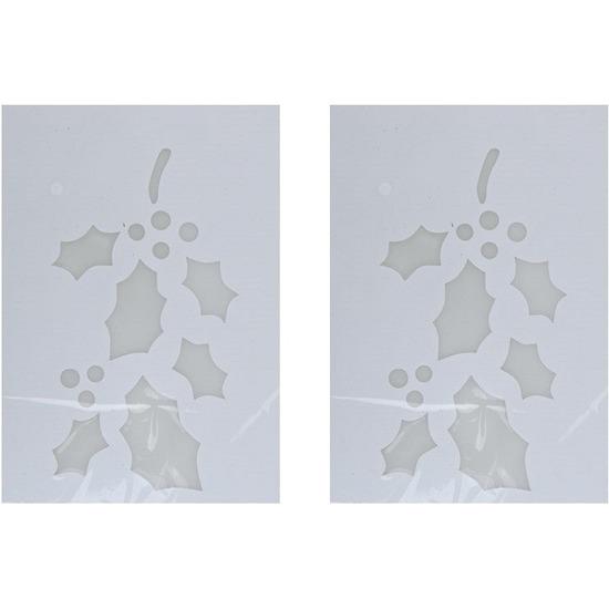 2x Kerst raamsjablonen/raamdecoratie hulsttakken plaatjes 35 cm