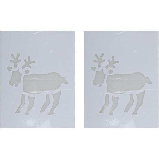 2x Kerst raamsjablonen/raamdecoratie rendier plaatjes 35 cm