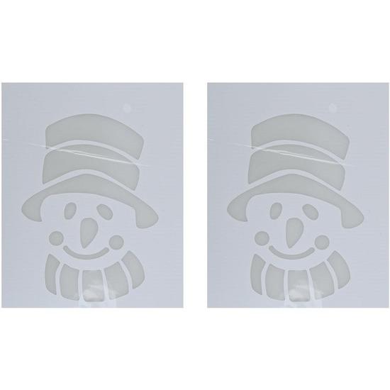 2x Kerst raamsjablonen/raamdecoratie sneeuwpop hoofd 35 cm