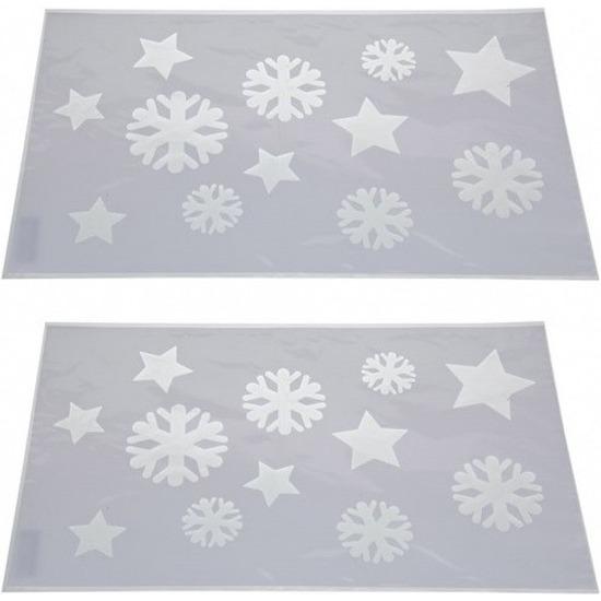 2x Kerst raamsjablonen/raamdecoratie sneeuwvlokken plaatjes 54cm