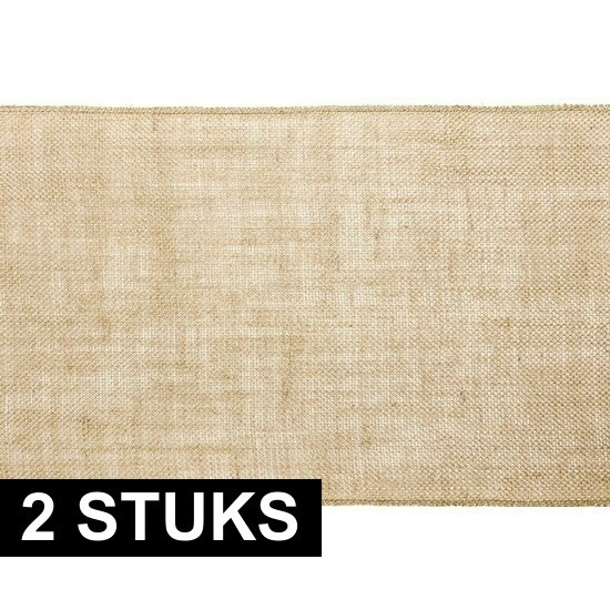 2x Kerst thema jute tafellopers/placemats 28 x 500 cm