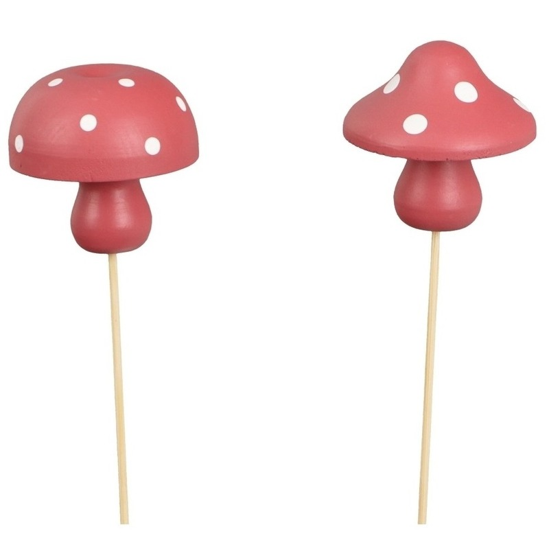 2x Kerststukje onderdelen houten paddenstoelen stekers 31 cm