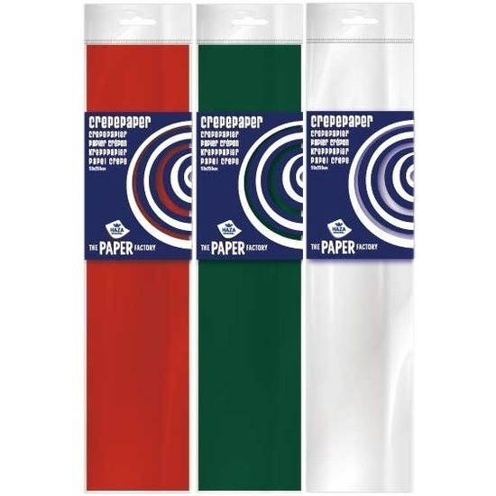3x Crepe papier basis pakket kerst 250 x 50 cm knutsel materiaal