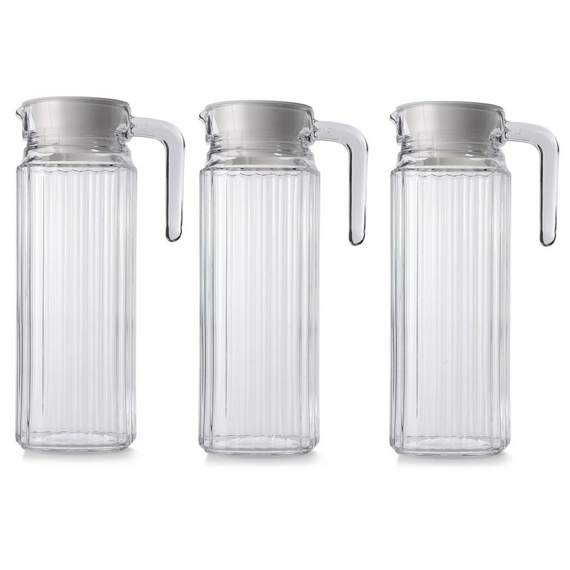 3x Glazen koelkast schenkkannen met dop 1,1 L