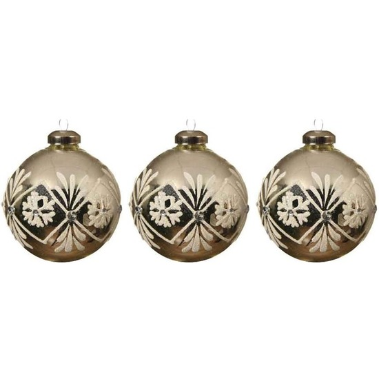 3x Zilveren/witte glazen kerstballen 8 cm