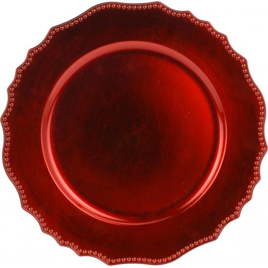 4x Diner onderborden kerst rood 33 cm rond
