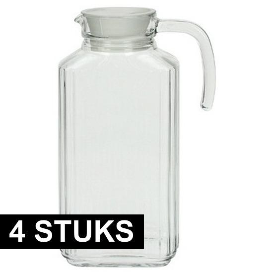 4x Glazen schenkkan met handvat 1,7 L