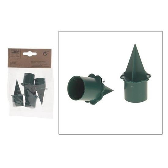 4x Groene kaarsenhouders voor steekschuim/oase