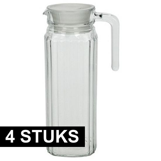 4x Lange glazen karaf met handvat 1,1 L