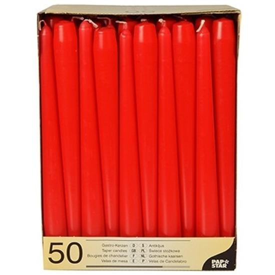 50x Dinerkaarsen rood 25 cm