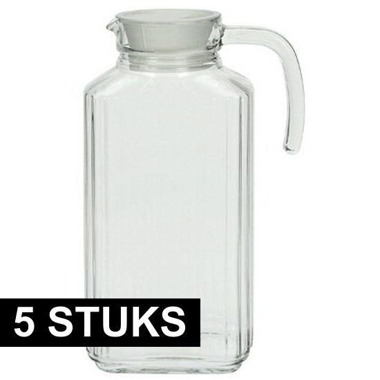 5x Glazen schenkkan met handvat 1,7 L