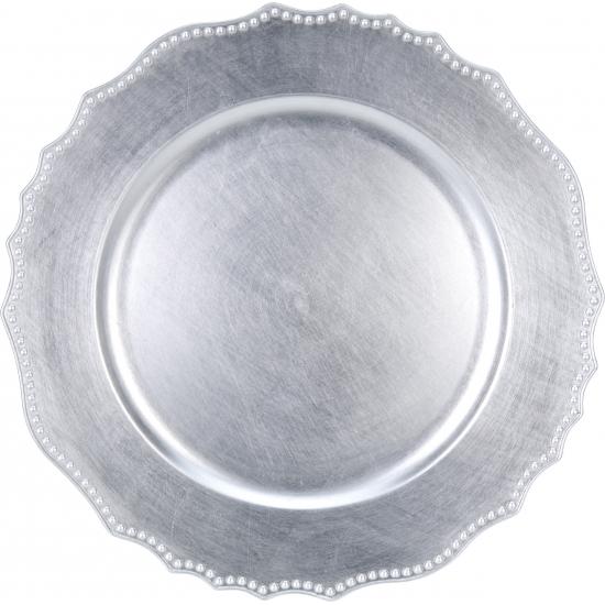 6x Diner onderborden zilver 33 cm rond