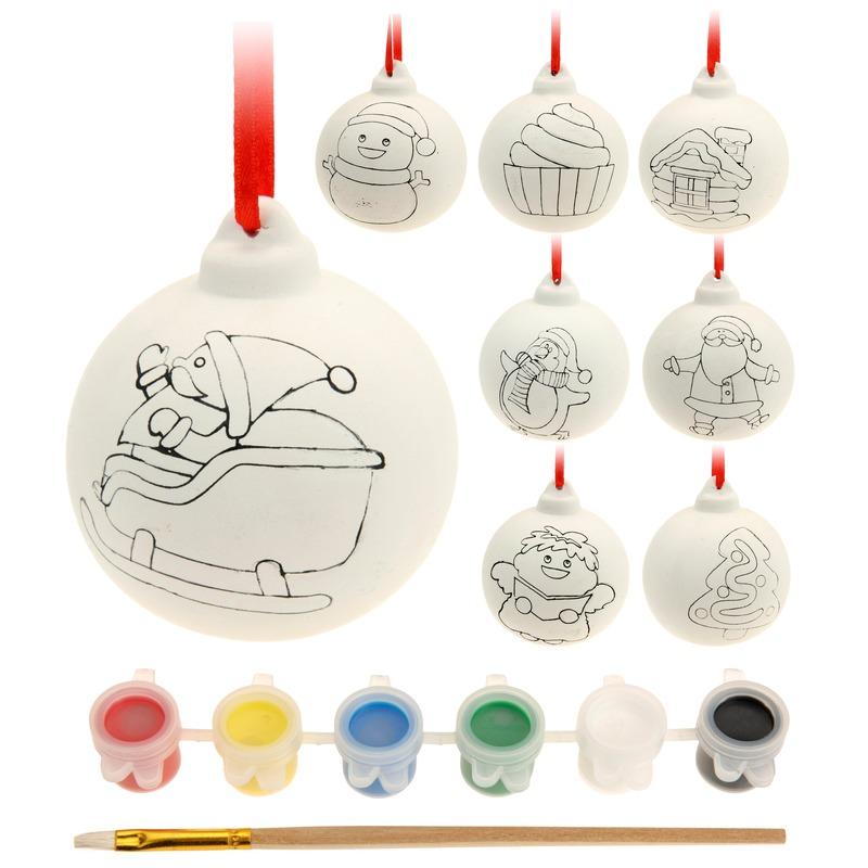 8x DIY Kerstballen maken set
