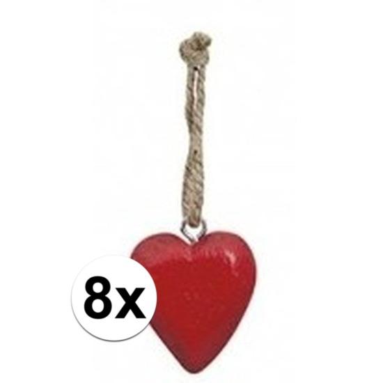 8x Rood hartje aan touwtje 5 cm