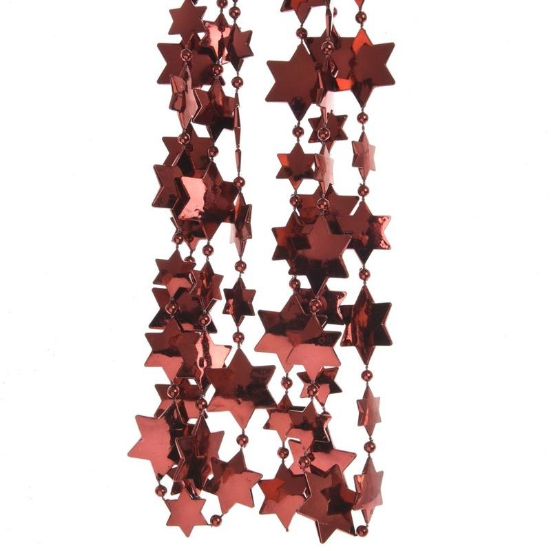 Donkerrode sterren kralenslinger kerstslinger 270 cm