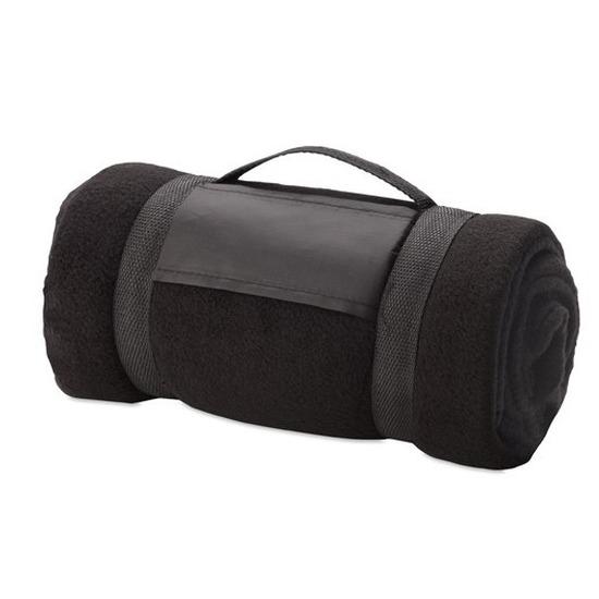 Fleece deken/plaid zwart met afneembaar handvat 160 x 130 cm