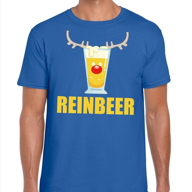 Foute Kerst t-shirt Reinbeer blauw voor heren