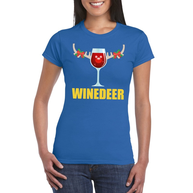 Foute Kerst t-shirt Winedeer blauw voor dames