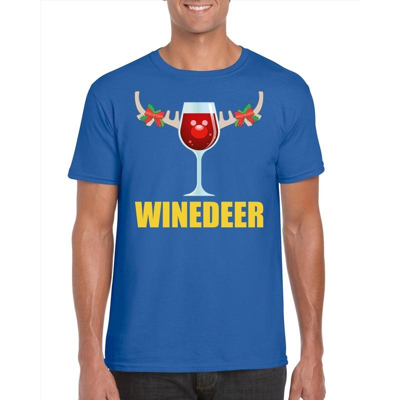 Foute Kerst t-shirt Winedeer blauw voor heren