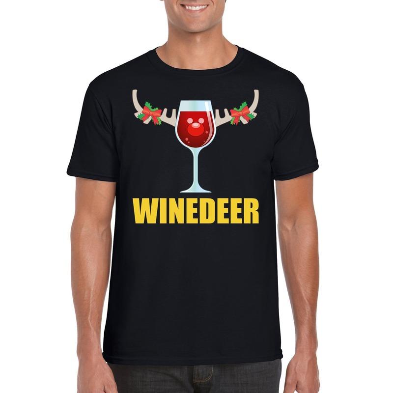Foute Kerst t-shirt Winedeer zwart voor heren