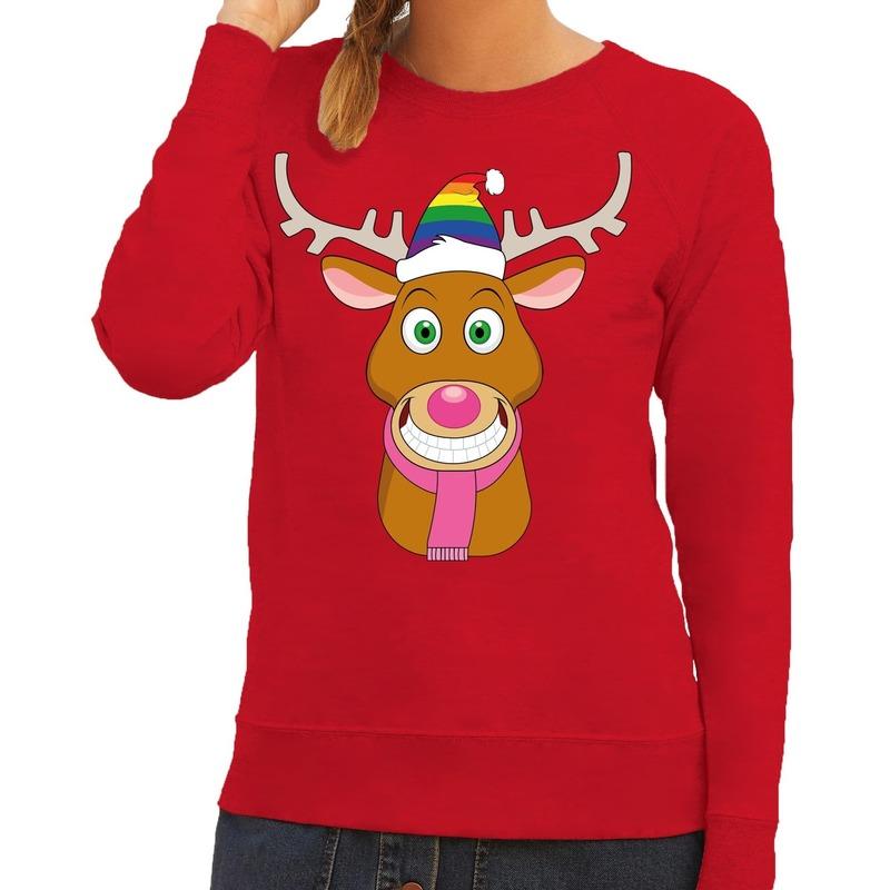 Foute kersttrui Gay Rudolf het rendier rood dames