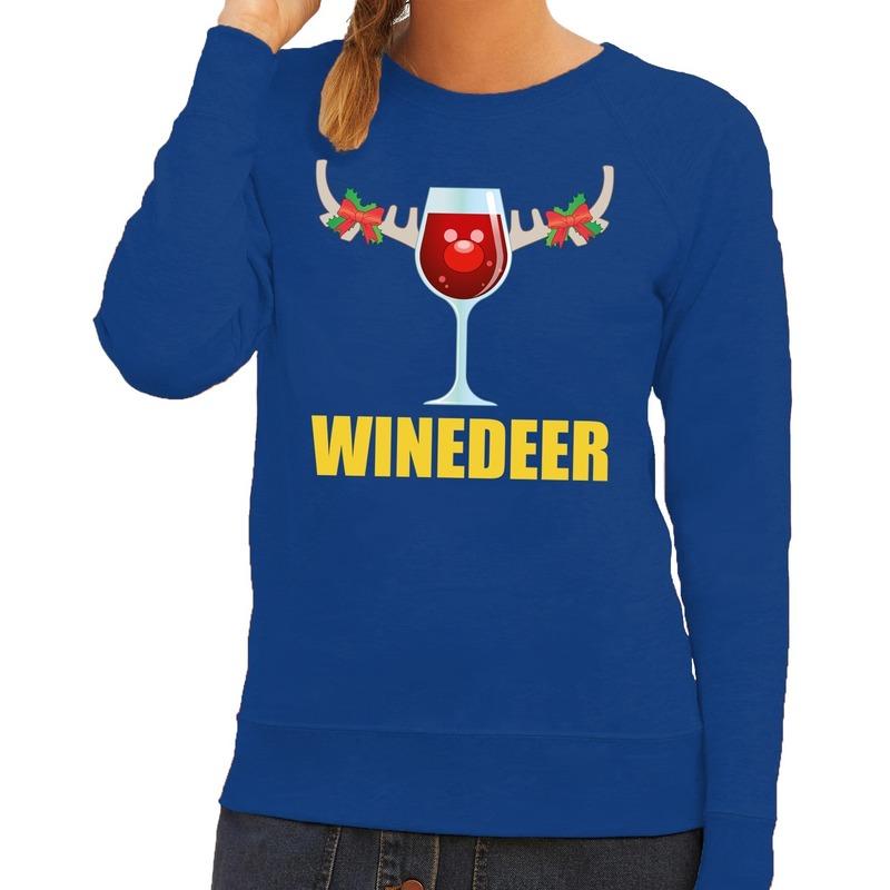 Foute kersttrui Winedeer blauw voor dames