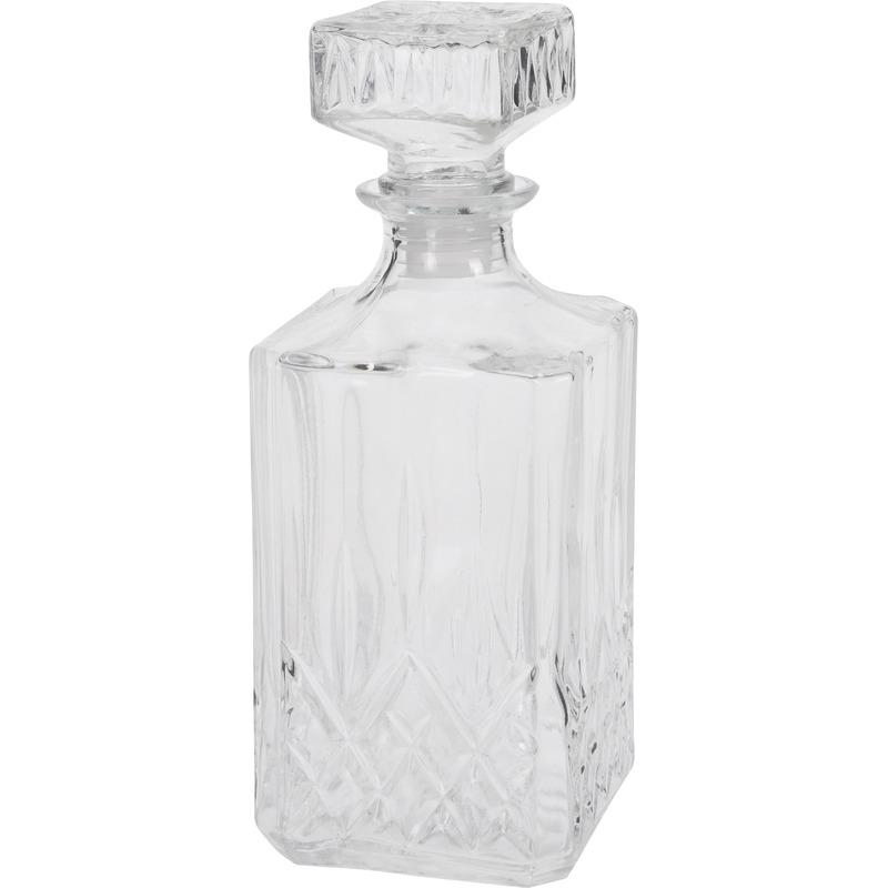 Glazen whiskey karaf met dop vierkant 900 ml