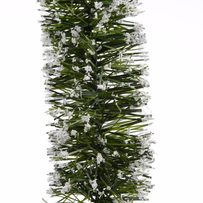 Groene/sneeuw kerstslinger 7 x 270 cm kerstboom versieringen
