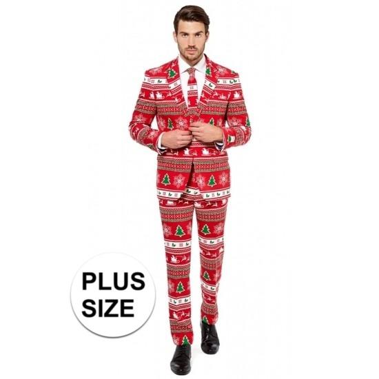 Grote maten heren kostuum met kerstboom print