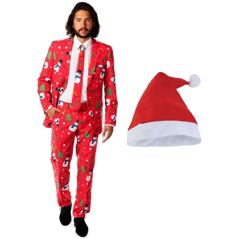 Heren Opposuits Kerst kostuum rood met kerstmuts – maat 56 (3XL)