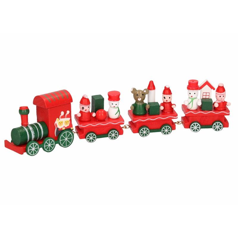 Houten Kersttrein rood met groen 25 cm type 2