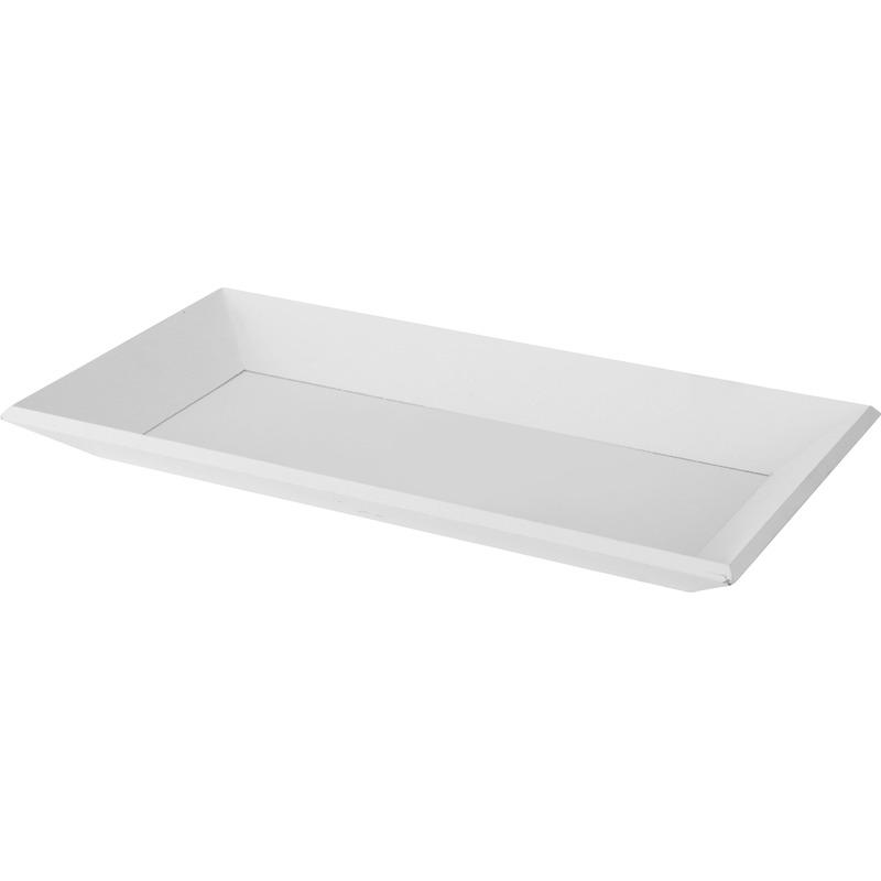 Kaarsenbord/plateau wit 20 x 40 cm hout rechthoekig