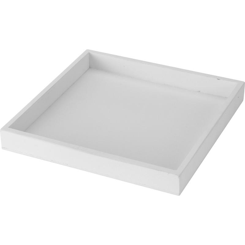 Kaarsenbord/plateau wit 30 x 30 cm hout vierkant