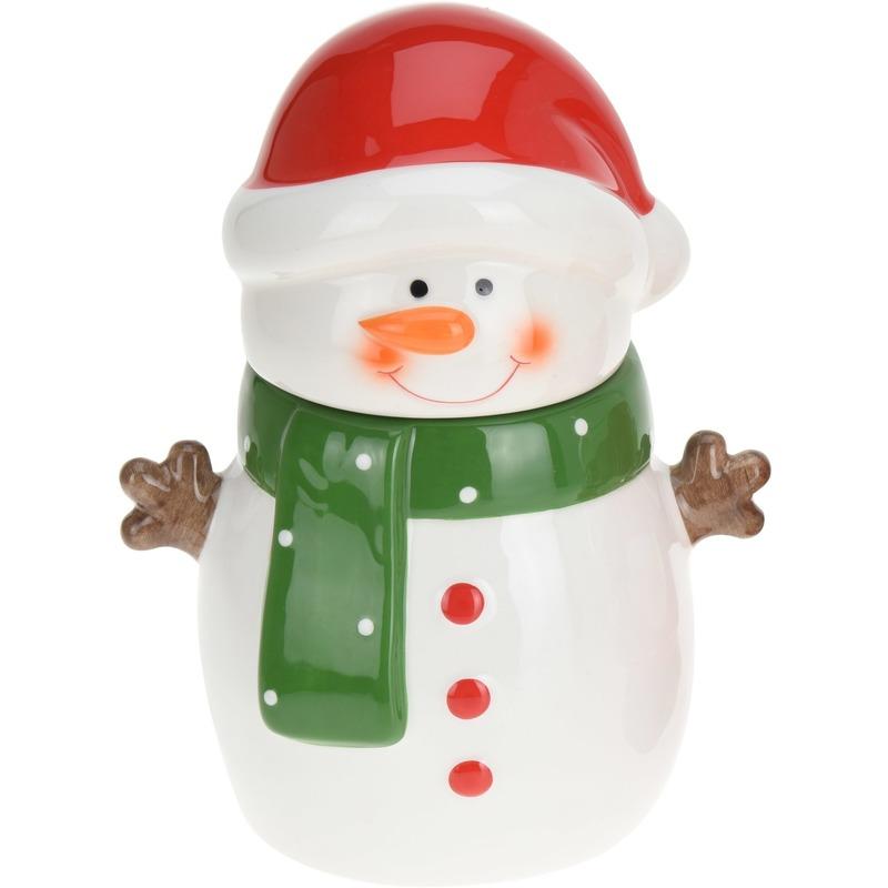 Kerst decoratie koek/snoeptrommel sneeuwpop 23 cm