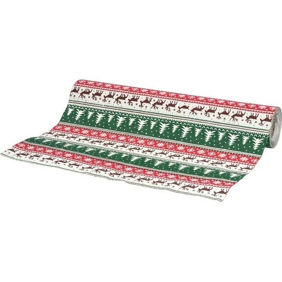 Kerst diner tafelloper kerstprint van katoen 250 x 21 cm