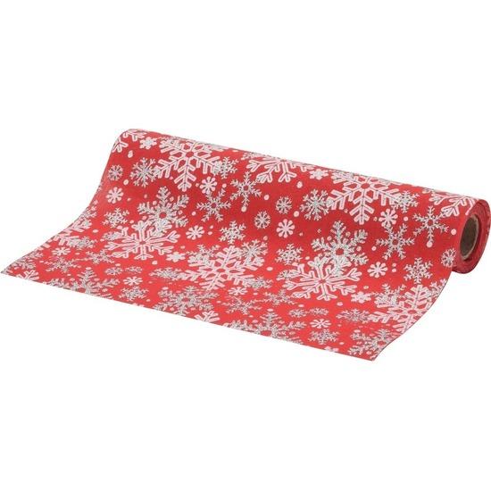 Kerst diner tafelloper rode met sneeuwvlokken 250 x 28 cm