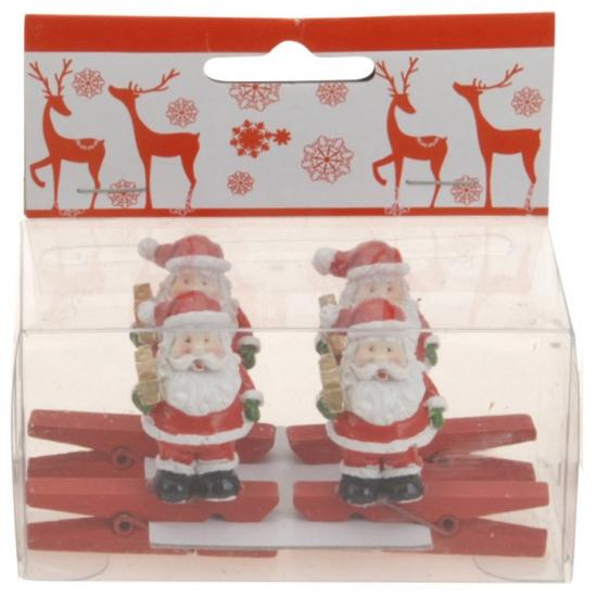 Kerst kaarten knijpers met kerstman met ster 4 stuks