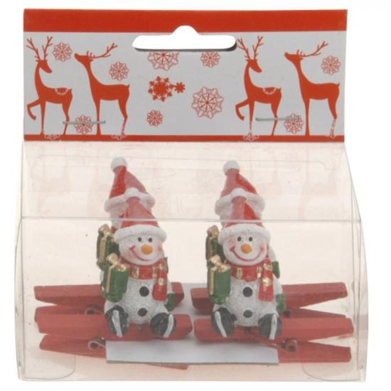 Kerst kaarten knijpers met sneeuwpop 4 stuks