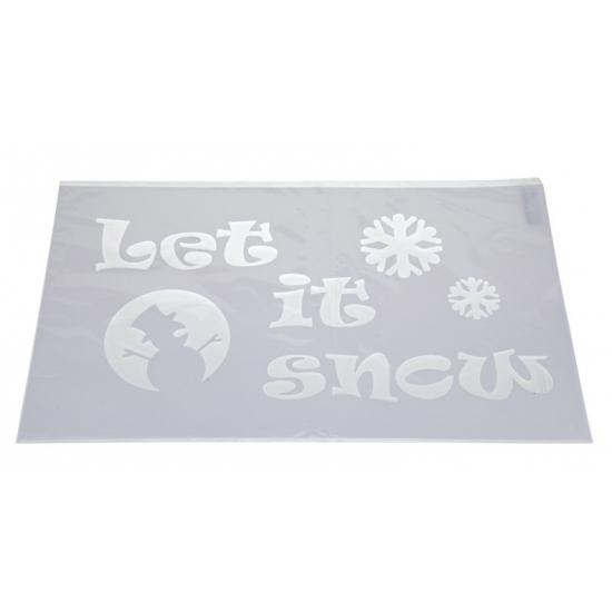 Kerst raamsjablonen/raamdecoratie Let it snow teksten 54 cm