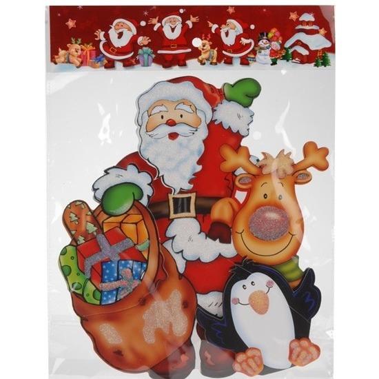 Kerst raamstickers/raamdecoratie 3D Kerstman/pinguin 25 x 34 cm