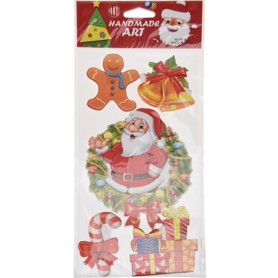 Kerst raamstickers/raamdecoratie 3D stickers kerstman 20 x 45 cm