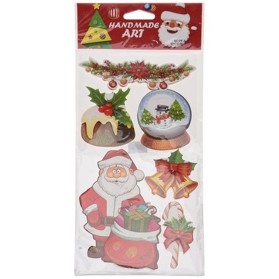Kerst raamstickers/raamdecoratie 3D type 3 20 x 45 cm