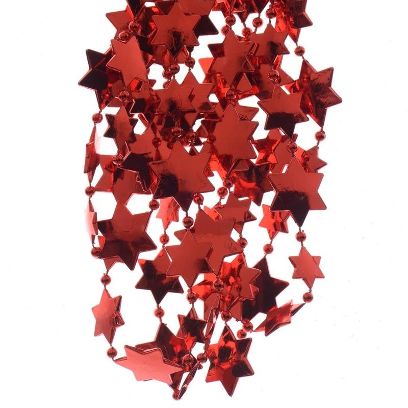 Kerst rode sterren kralenslinger kerstslinger 270 cm