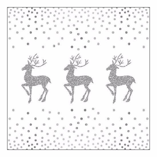 Kerst servetten rendier en stippen wit/zilver 20 stuks