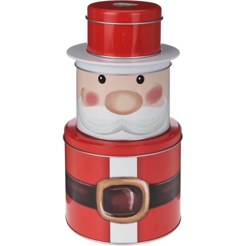 Kerst snoep/koektrommel kerstman 3 delig