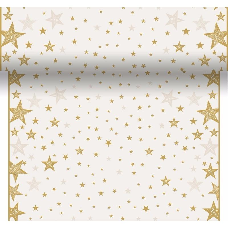 Kerst thema tafelloper/placemats creme wit/goud sterren 40 x 480